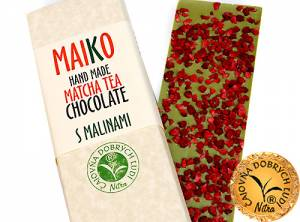 MAIKO - Hand Made Matcha Tea Chocolate- S malinami